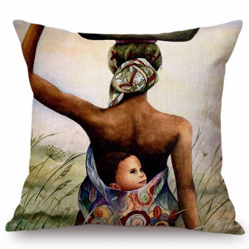Día de la Madre aceite regalo de la pintura del caso del bebé de la madre Arte Almohada decorativa para sala de estar de algodón de lino de la momia del bebé Cojín J8Hh #