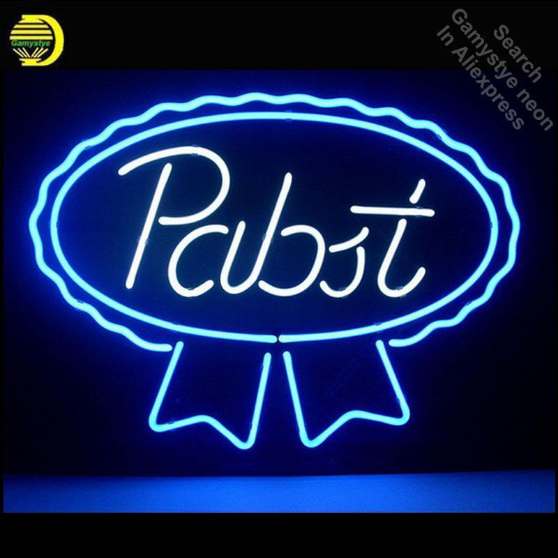 NEONZEICHEN Pabst Blue Ribbon LAGER ALE REAL Schild REAL GLASS BEER BAR PUB-Display im Freien Licht-Zeichen 17 * 14 Dropshipping