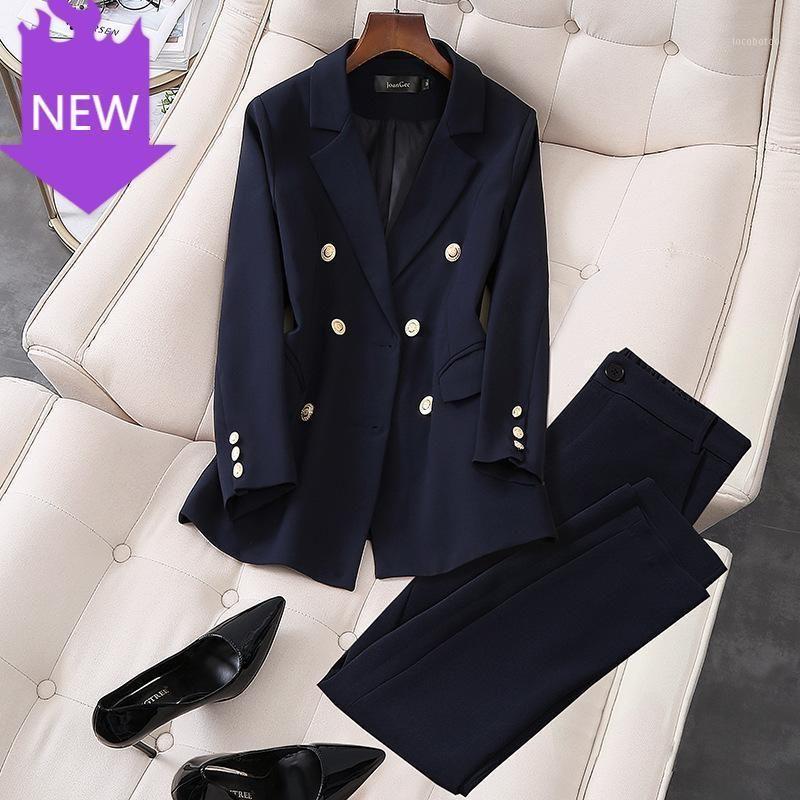 2 pièces Ensembles Blazer Double Blazer Pantalon Ensemble Pour Femmes Set S-5XL 2020 Nouveau Elegant Office Office Wear Pant Pantalon