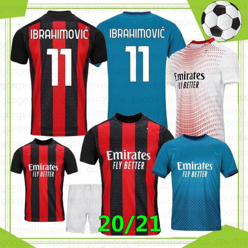 Ibrahimovic Thai 20 21 AC Milan New Futebol Jerseys Piatek Brahim Camisa de Futebol Theo Paqueta Suso Calhanoglu Caldara Homens Kit Kit Jerseys