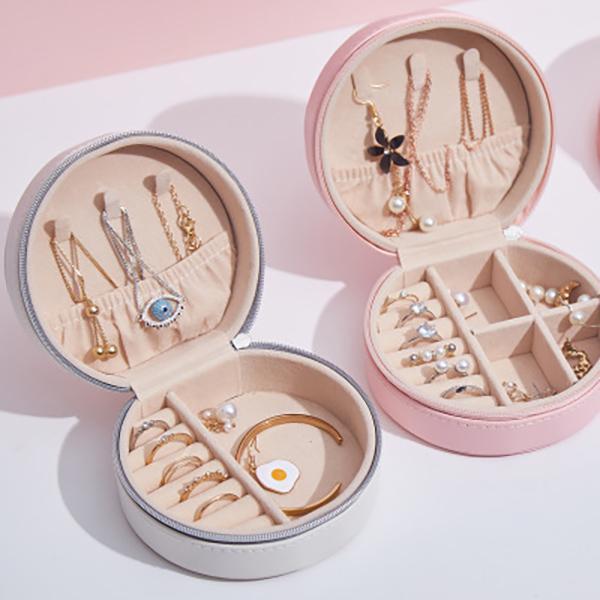 جولة مجوهرات تخزين مربع المحمولة بو الجلود مجوهرات تخزين حلقة القرط قلادة التعبئة والتغليف عرض حالة المنظم الحالات