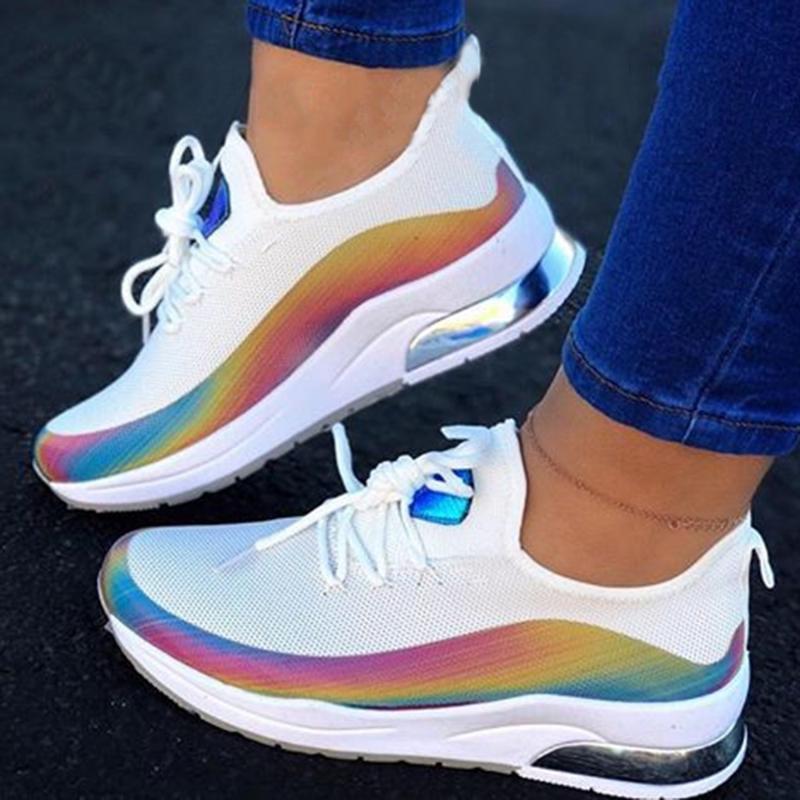 2020 المرأة مكتنزة أحذية رياضية أزياء المرأة منصة الدانتيل يصل الوردي الأبيض vulcanize الأحذية النسائية الإناث المدربين بارد الفتيات الأحذية مع