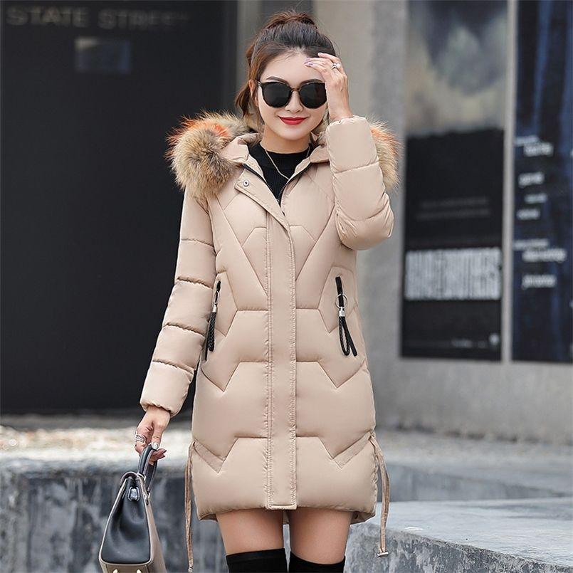 Зимняя стройная большая большая хлопковая куртка тяжелые волосы утолщение пуховики Parka зимние женщины куртка 201225