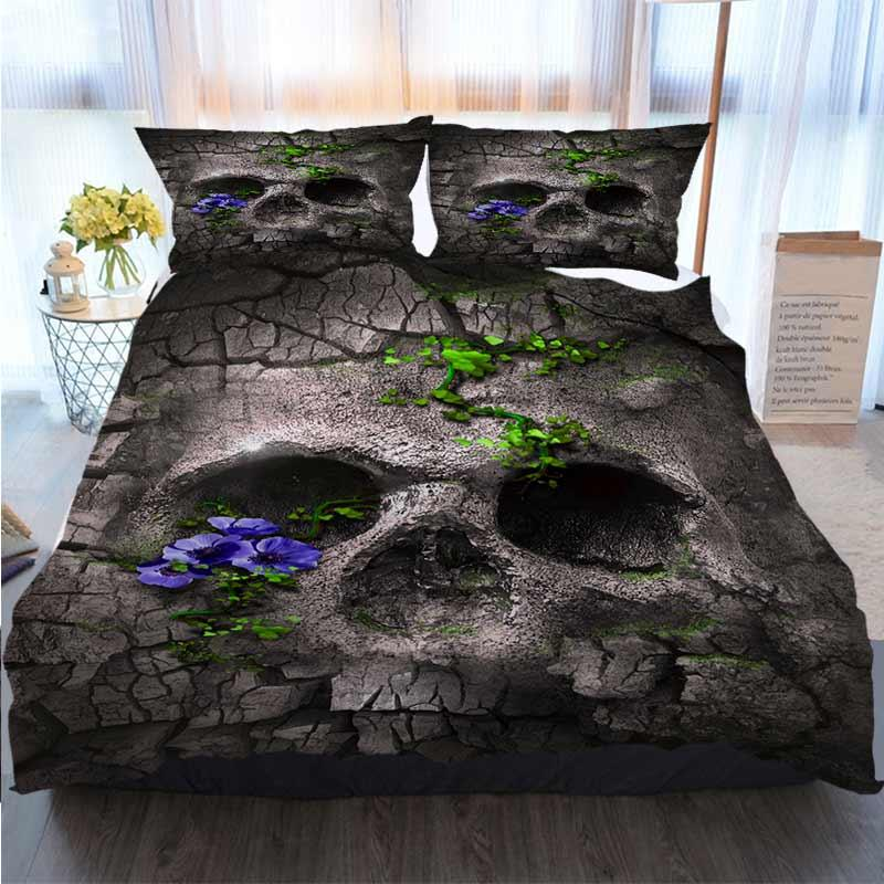 Bedding 3 Piece Duvet Cover Sets Fantasy Skull Beak Crossbones Flower Lanker Crack Stone Home Luxury Soft Duvet Comforter Cover
