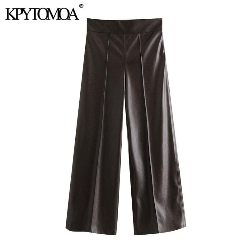 KPYTOMOA Women Fashion Faux Leather Visible Seam Detail Pants Vintage High Waist Side Zipper Female Ankle Trousers Mujer 201106