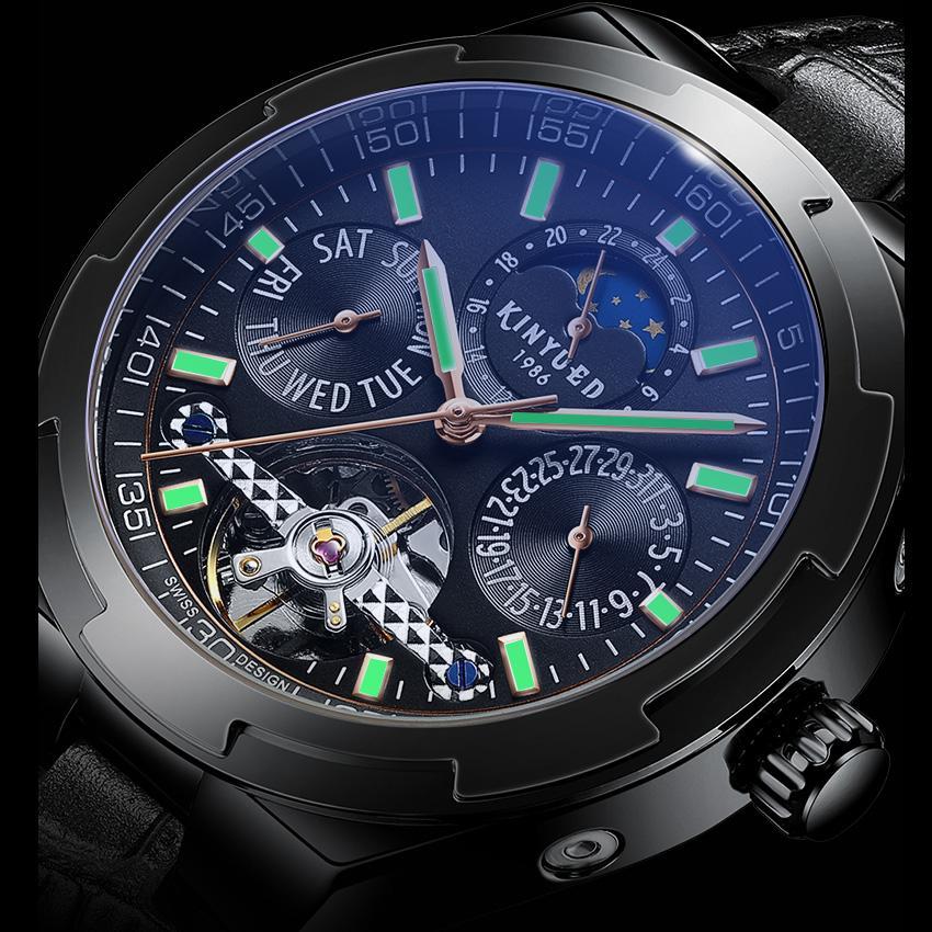 KINYUED Классические мужские часы автоматические механические часы Tourbillon Кло натуральная кожа водонепроницаемый Military ретро наручные часы