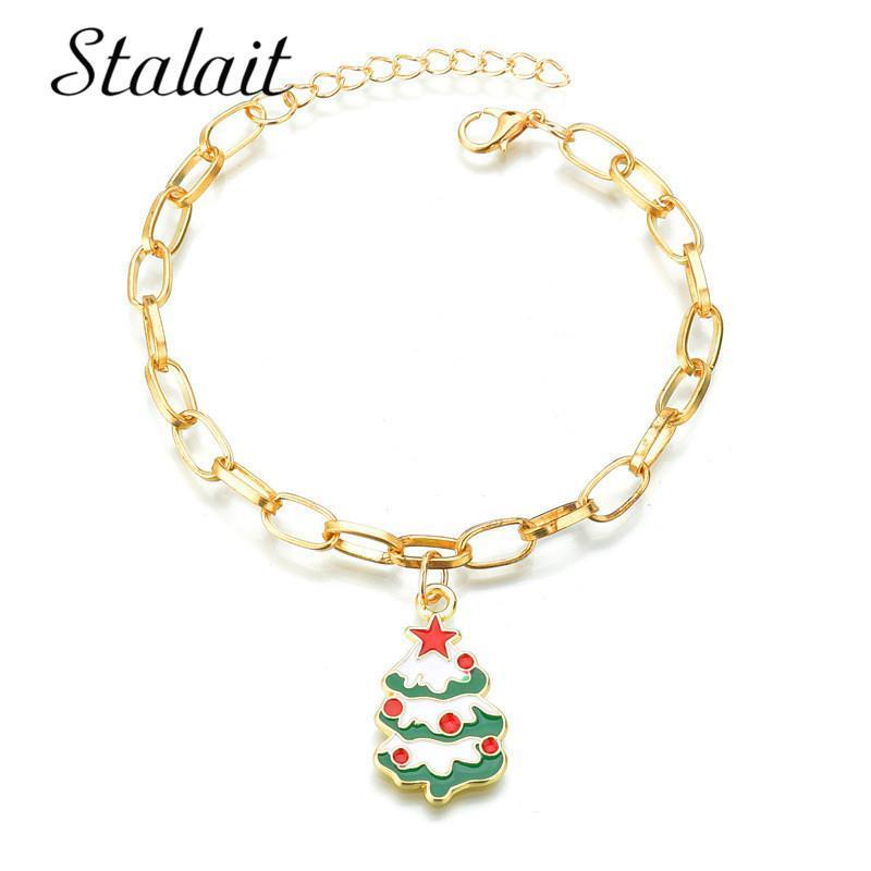 Bracelet Femme 12 Styles doux Bracelets de Noël creux de Bell Sleigh d'arbre de Noël Star Heart Lune Remarque Bracelets Dangle