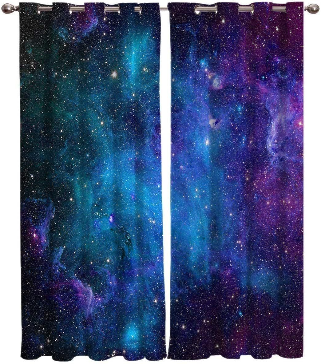 Curtain Galaxy Star Universe Starry Sky Curtain Bedroom Living Room Kitchen Decoration Curtain LJ201224
