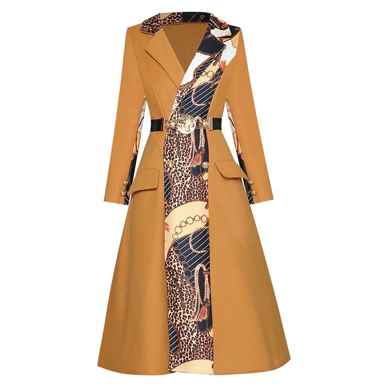 HIGH QUALITY Autumn Winter Designer Coat Women's Leopard Patchwork Wool Long Overcoat5TLC