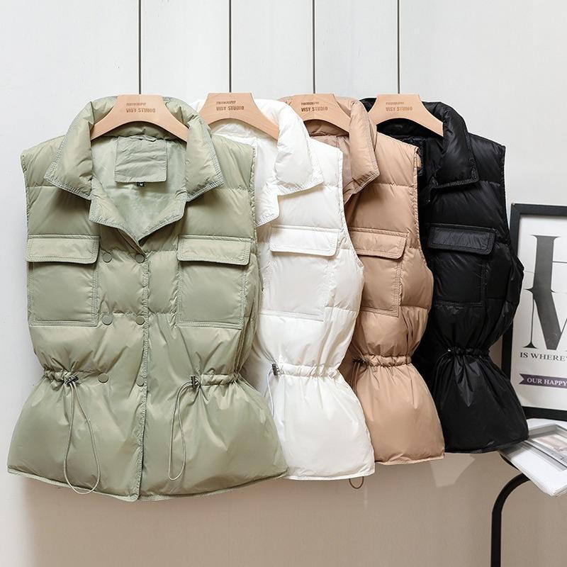 La versione coreana del gilet della giacca leggera 2021 inverno nuovo gilet gilet da donna corta da donna collo e vita single-peste