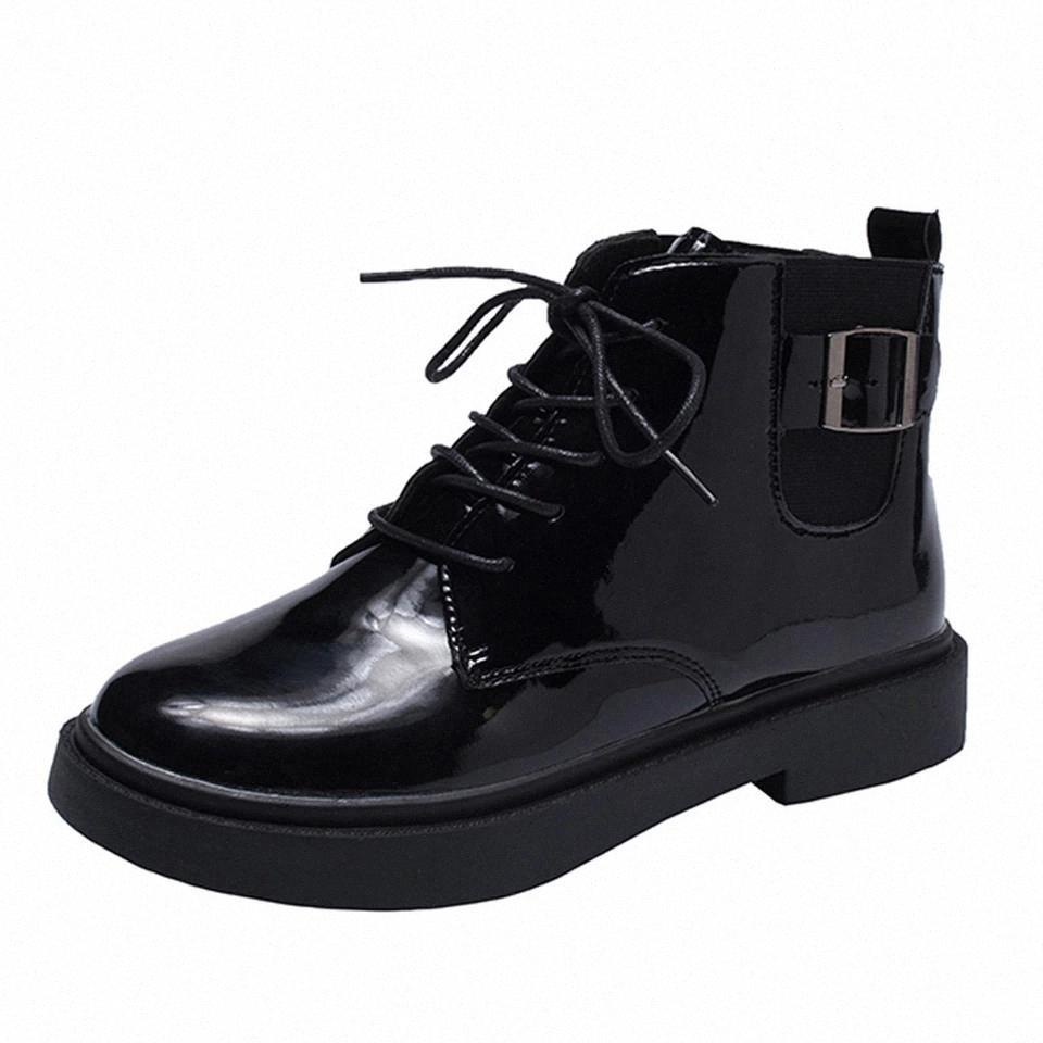 Senhoras Botas de Patente Preta Botas Mulheres Impermeável Flat Sólido Zíper Biker Curto tornozelo Flat Booties Shoes Gothic punk estilo # xb5t