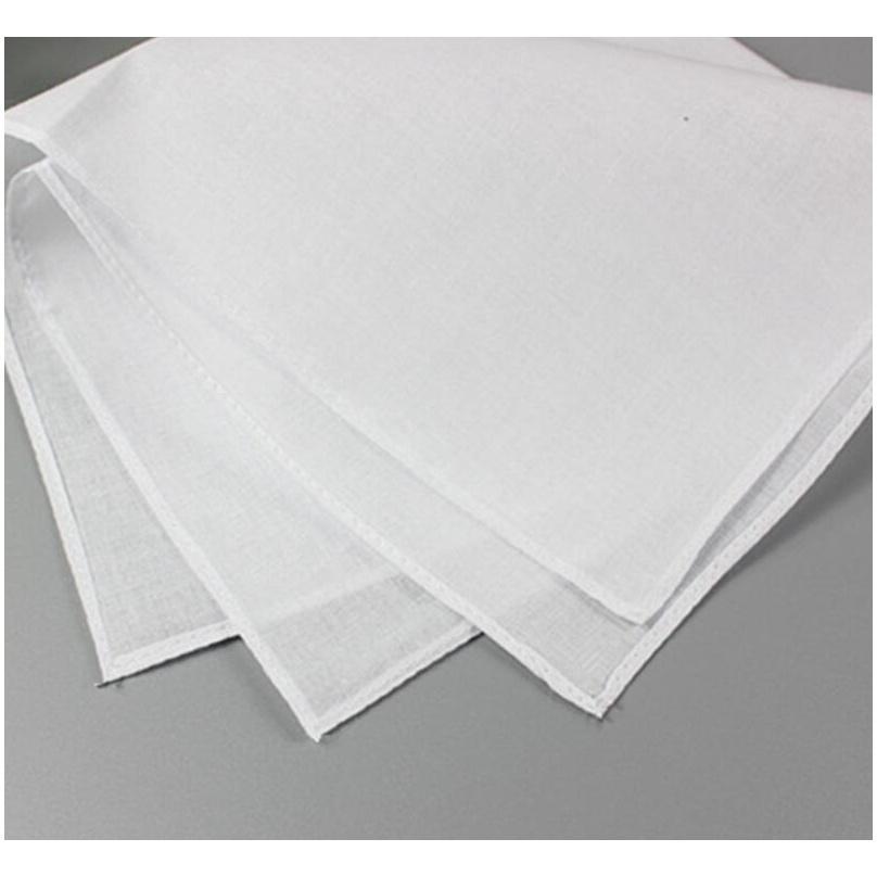 BDE_Luck White Handkerchiefs Mulheres Algodão Bbymeo 100% Homens 28cm * 28cm Bolso Handkerchiefs Casamento Puro DIY DRA PRINT SQUARE FWLOX