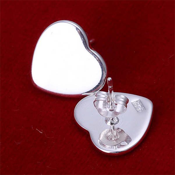 women's heart sterling silver plated earrings size Diameter 1.4CM DMSE010,fashion 925 silver Plate earring jewelry Stud