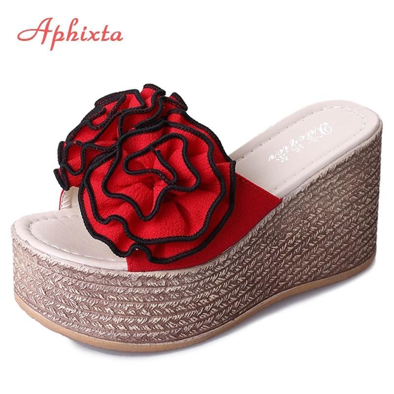 Aphixta 9 cm Plattform Wedge Hausschuhe Frauen Schuhe Clag Riband Rose Blumen Sandalen Mädchen Flip Flop Slides Pantoufle Femme Y200520