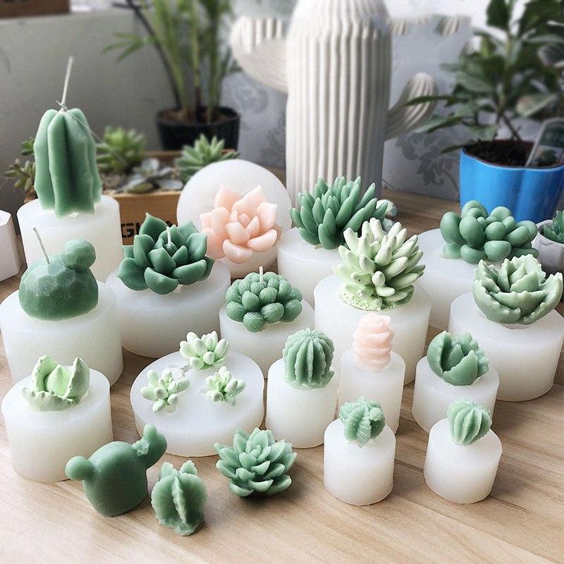 Big Size piante grasse muffa della torta del silicone del fondente Cactus fai da te Aroma cartongesso Silicon Mold Candela Stampi 95xA #