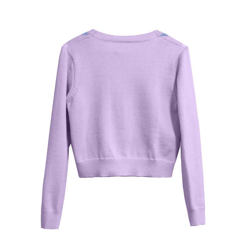 vintage rhombic geométrica bonito de malha de moda primavera cardigan camisola mulheres e no Outono outerwear estilo inglaterra chique encabeça 201007