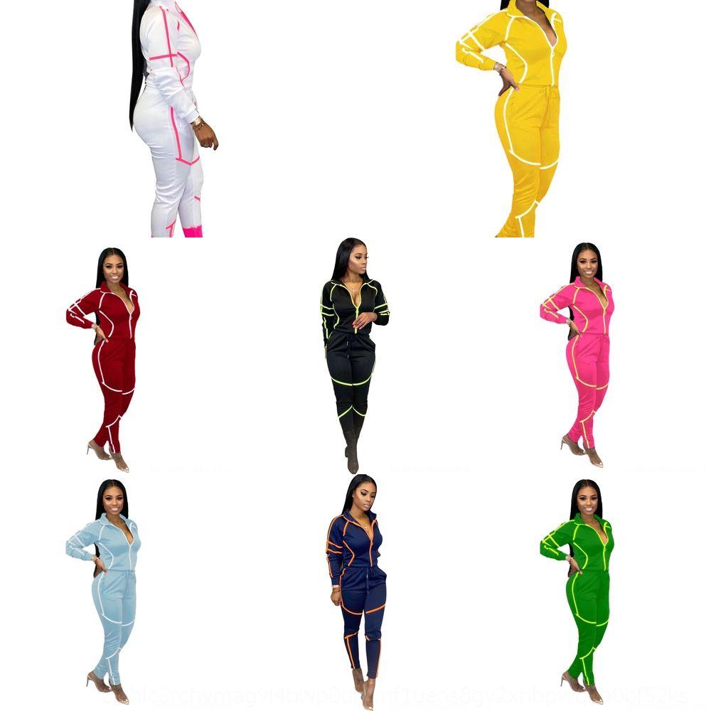 KPFM Due donne Sport usura Set Sexy Set Top Pantaloni lunghi in vita alta 2 Pz Outfit Stampato Casual Towilsuits Casual Tuta da due pezzi Lettera Tracksuit