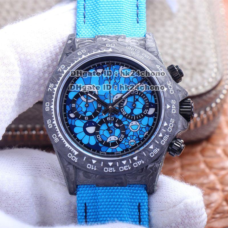 2021 JHF V2 DIW All Carbon Coma 7750 Chronograph automático Reloj para hombre 116503 Tela de diámetro azul Correa de cuero con cuero de carbono Gents Relojes