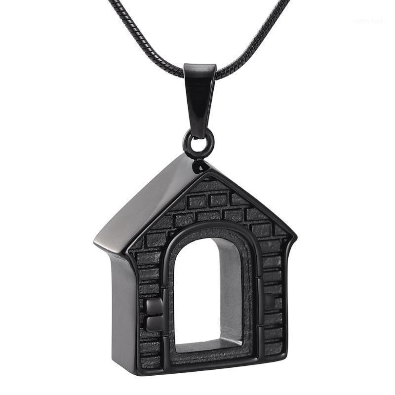 IJD9886 Forma Casa Pendente di cremazione in acciaio inox Hold Ashes Urn Souvenir Keepsake Memorial collana gioielli1