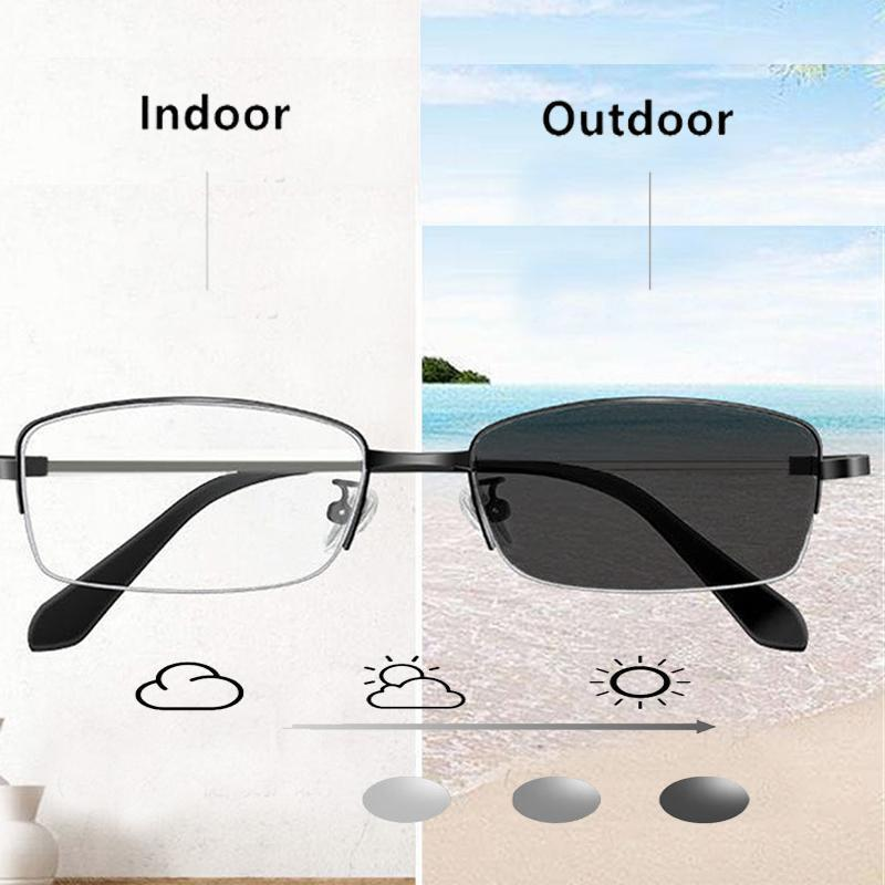 2020 الإطار التقدمي متعددة البؤر نظارات القراءة اللونية في الهواء الطلق النساء الرجال زجاج معدني طويل النظر النظارات المضادة الضوء الأزرق