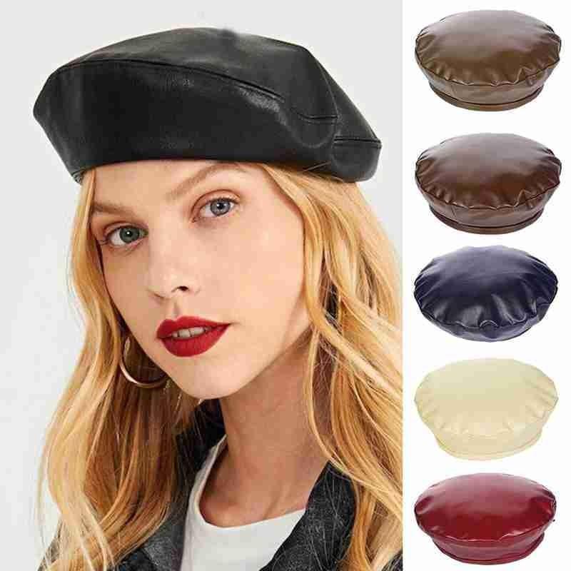Berets Moda damska kapelusz PU skóra francuski styl artysta beret czapka dla kobiet dziewczyny miękkie