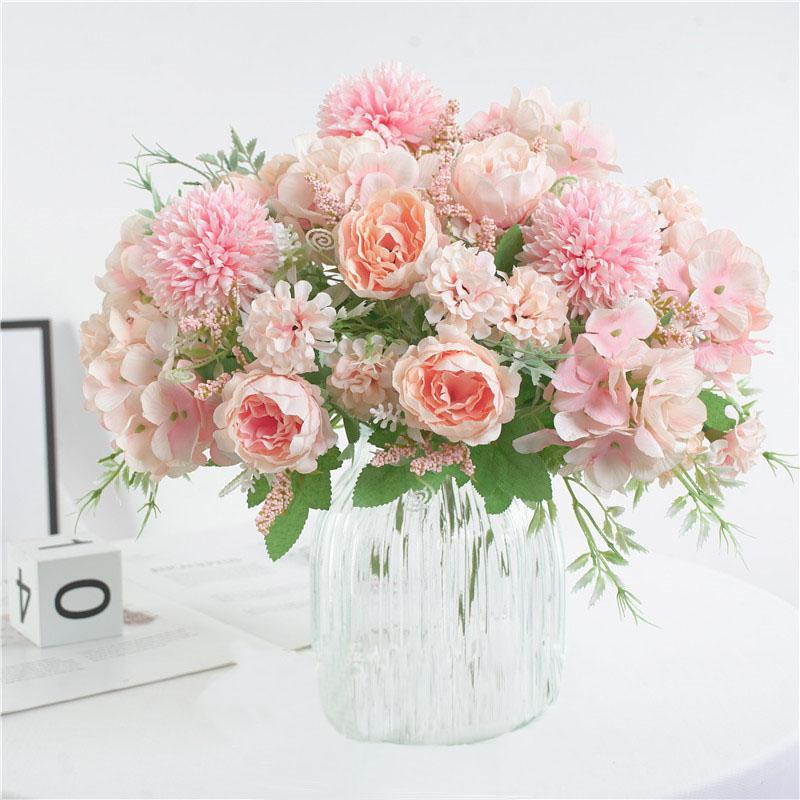 Decoración de la boda de la flor artificial de bricolaje Camellia Rose flor del Peony del ramo de novia Ministerio del Interior Jardín Escritorio Seda Decoración falso