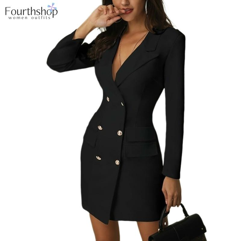 Women One-piece Dress Suit Office Lady Formal Dresses Double Breasted Fashion Casual Suits Notched Blazer Jacket Female Outfits 201012