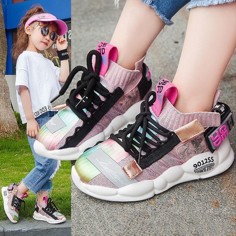 Alta calidad 2019 otoño niños zapatillas de deporte zapatos para niñas niños moda casual zapatos para niños para niña deporte correr niño aliento zapatos cómodos
