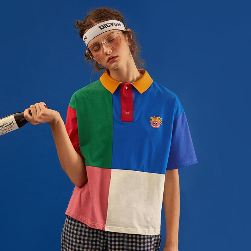 Alta calidad del algodón de Poloshirt diseño original verano ocasional de las nuevas mujeres del POLO de la camisa del color del encanto del bordado de tapas de la camisa de manga corta
