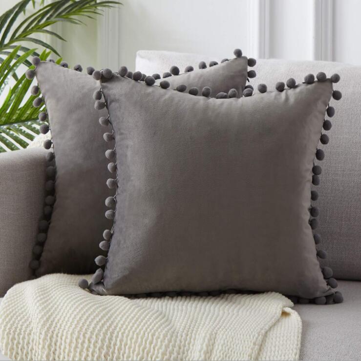 Наволочка мягкая бархатная подушка крышка подушки подушка крышка квадратный декоративный наволочка с кисточками шарики для диван-кровать автомобиль бросок подушки GWC5232