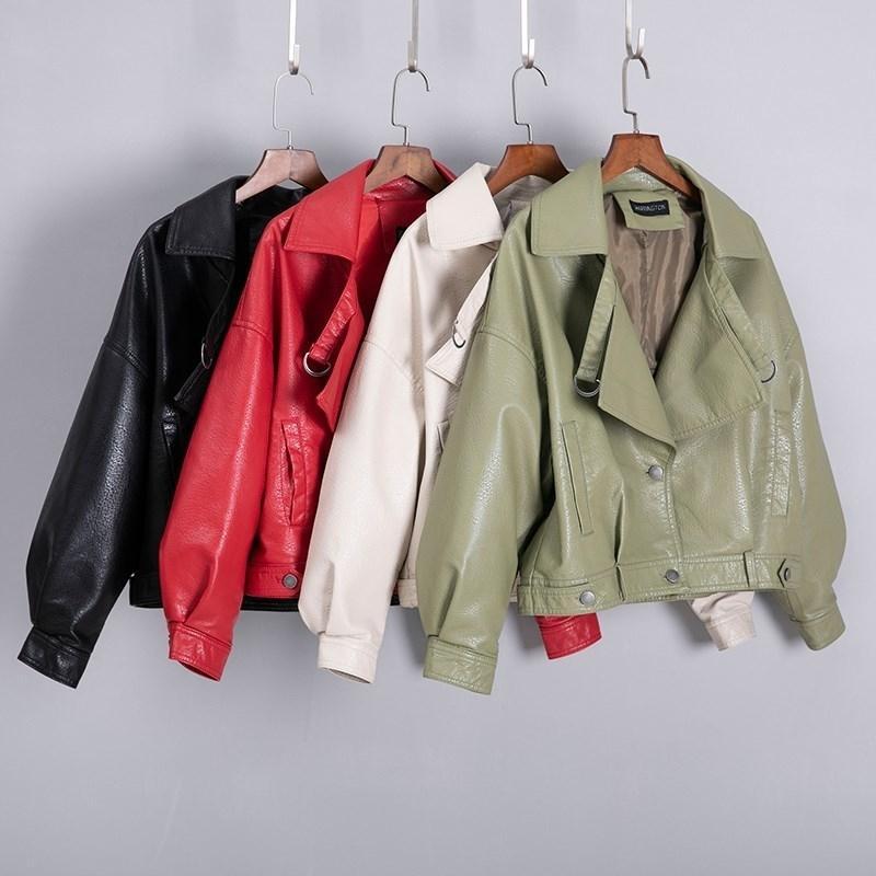Новая мода Женщины осень зима Искусственные кожаные куртки базовый женский пальто Biker куртка PU кожаный женский куртка 201030