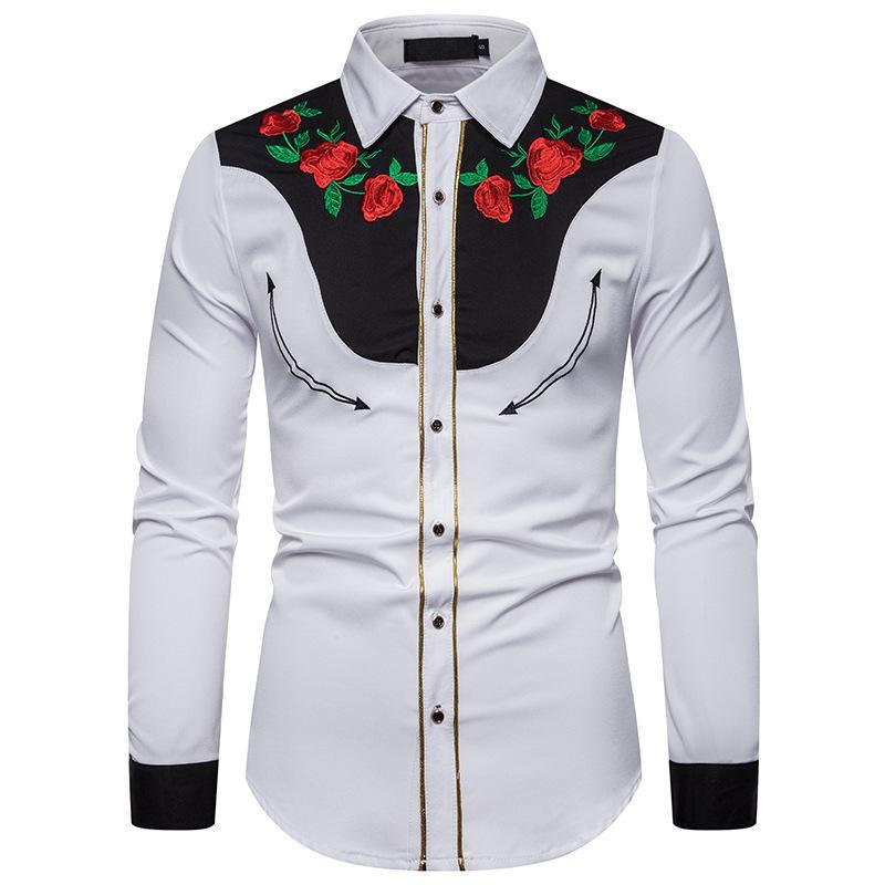 2021 Yeni Erkek Tasarımcı Gömlek Moda Uzun Kollu Baskı Panelli Erkek Gömlek Tek Göğüslü Adam Giyim