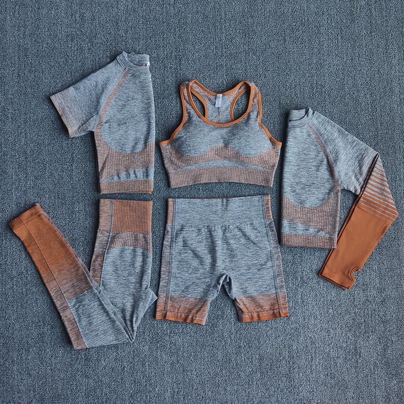 2/3 / 5 stücke Nahtlose Fitness Frauen Yoga Anzug Training Set Sport BH Langarm Crop Top Hohe Taille Legging Gym Kleidung Sportkleidung Y1225