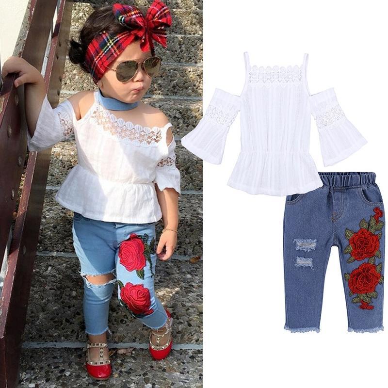 الصيف طفل الفتيات ملابس مجموعة طفل الفتيات الملابس الزى + جينز الاطفال ملابس الرياضة الدعاوى للفتيات ملابس 1 2 3 4 5 سنوات Y200325
