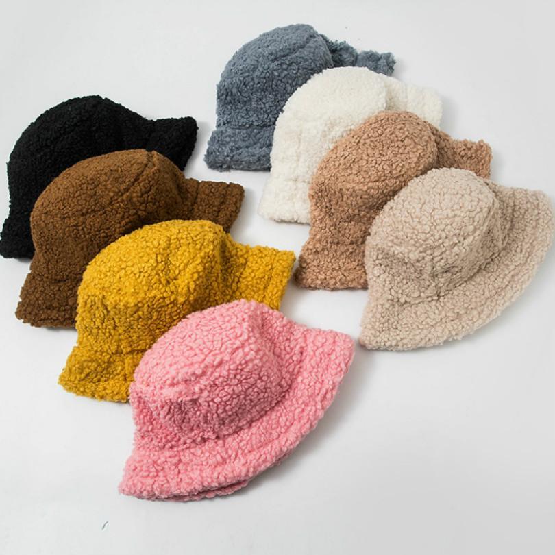 Sıcak Kış kadın Sıcak Kova Şapka Tüm Maç Kuzu Yün Boş Balıkçı Şapka Peluş Havzası Şapka JXW715