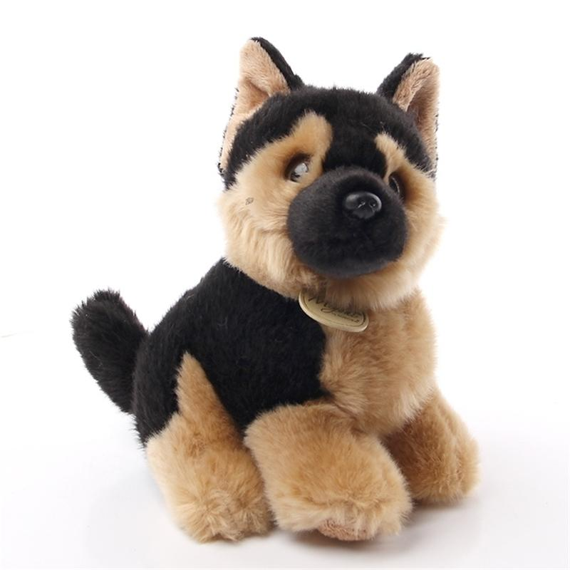 Aurora brinquedos de cão raça com um longo casaco de seda longo luxuoso pastor alemão cão engraçado boneca brinquedos para crianças aniversário presente de Natal 201222