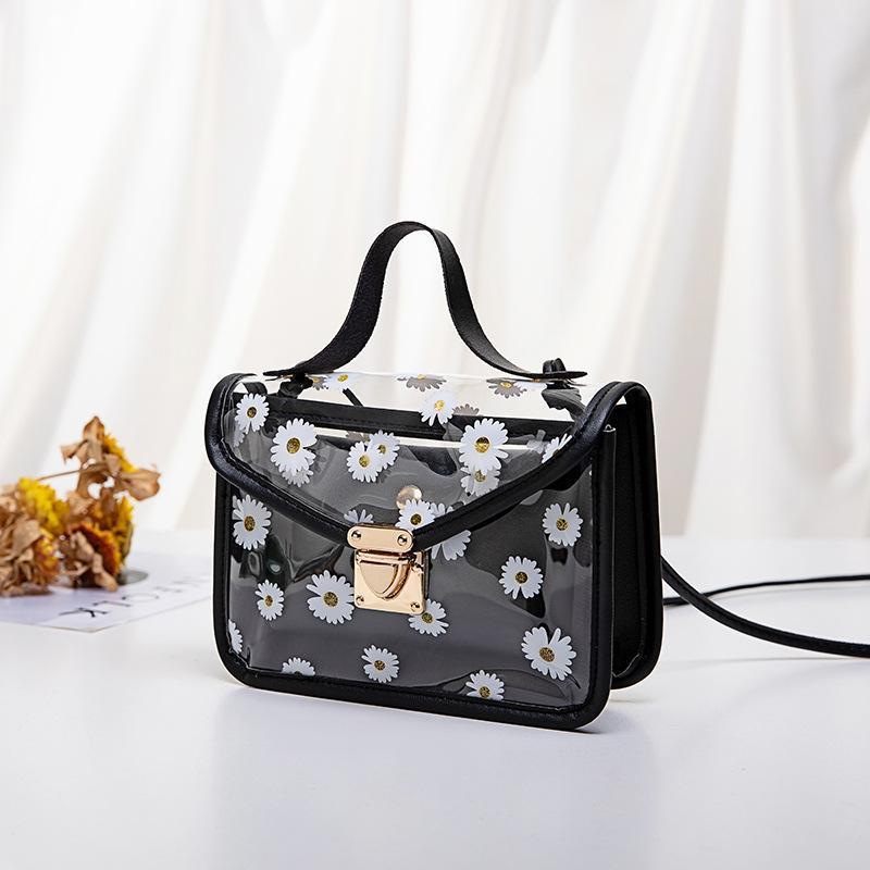 Koreanische neue Schulter Große Schnalle Persönlichkeit Muster Daisy Trend 2020 Feste kleine Damen Transparente Tasche Crossbody Handtasche Kopba