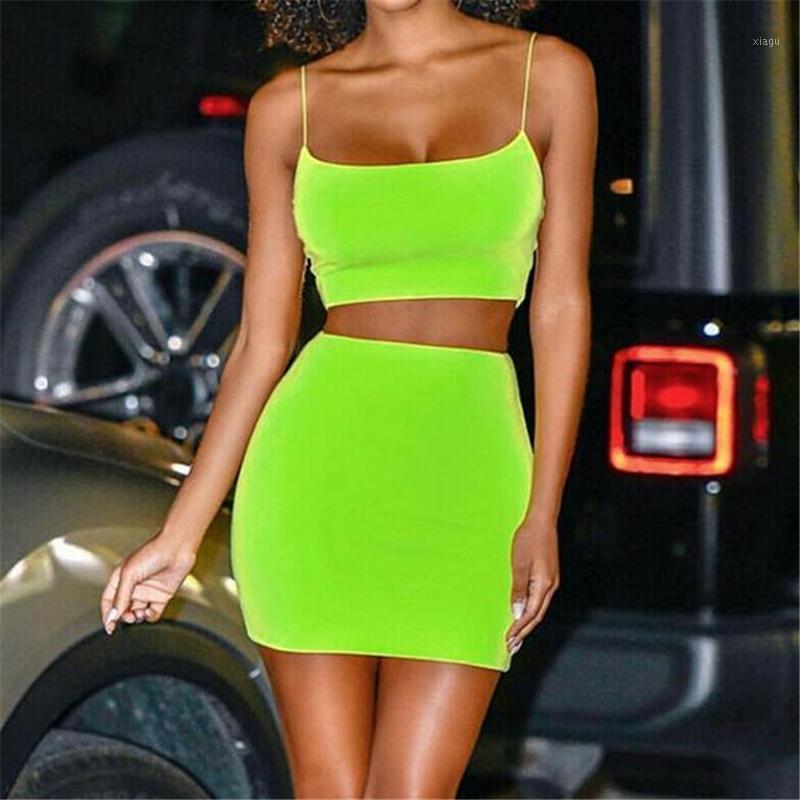 Mulheres Sexy 2 Bodycon Dois Peça Crop Top e Saia Conjuntos Partido Sundress Dois Pedaço Set Roupas Sólida Cor Clubwear Mulher Set1
