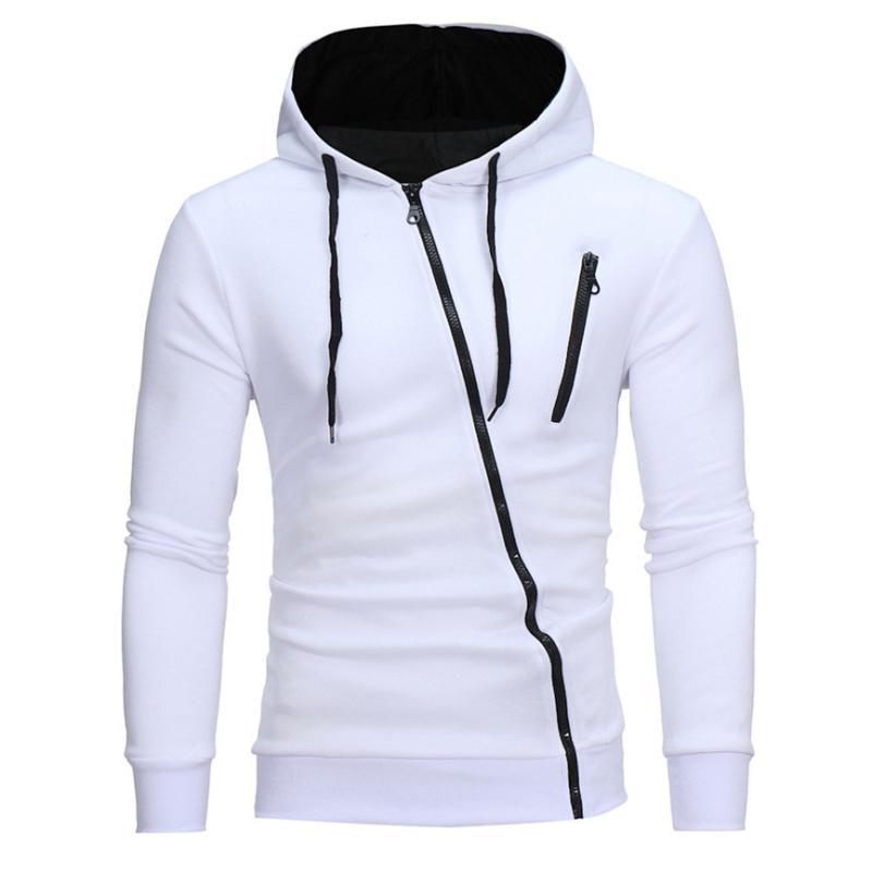 Men Solid Hoodie Patchwork Hoodies Mens Diagonal Zipper Jacket Hiphop Sweatshirts Men Hoody Harujuku Clothes Streetwear