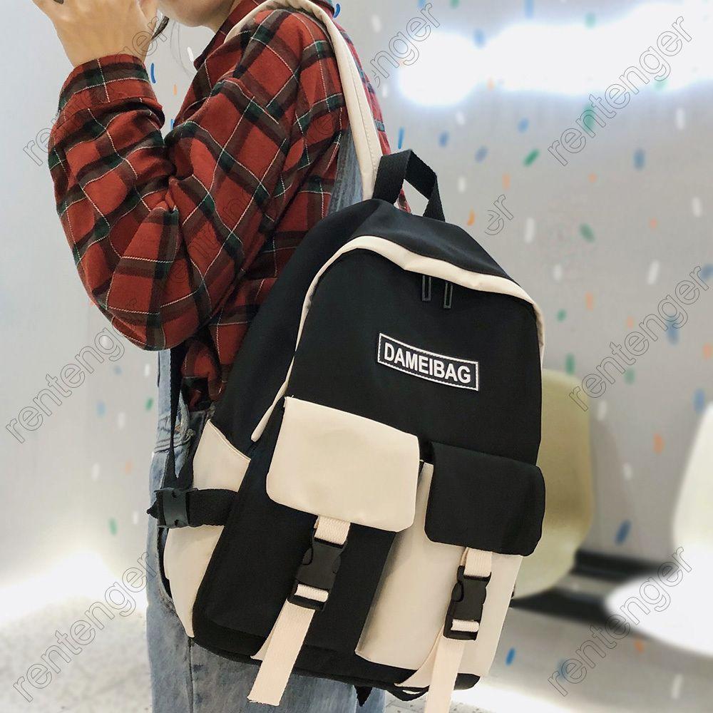 College Student Women Cute Harajuku New School Bag Book Kawaii Ladies Backpack Waterproof Nylon Girl Trendy Bags Female Q1113
