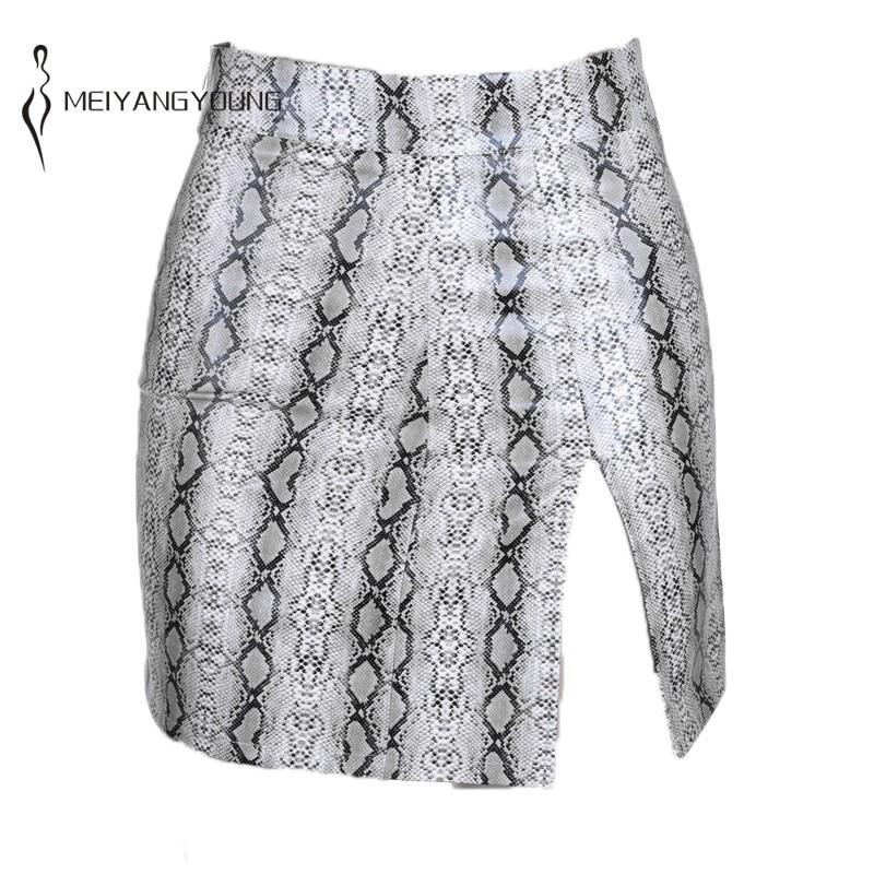 Femmes Taille haute Snakekin Pu Jupe Côté Split Modycon Jupe Mode Club Mini Jupe Casual Crayon Jupon Jupon Streetwaer Q0119