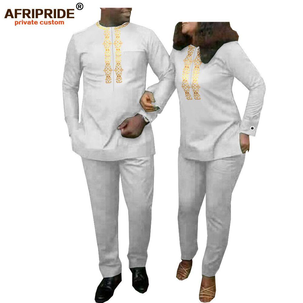 Roupas africanas para casal mulheres do `s de duas peças conjunto e homens tracksuit camisa das roupas das dashiki camisa e calça terno afripreto a20c001 201119