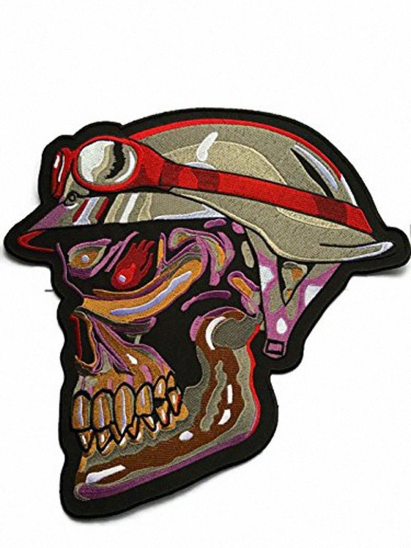 Wirklich Rare Einzigartig! Super große Scary Schädel-Gesicht gestickte Applikationen Abzeichen Aufnäher Military Armee-Jacken-Flecken nähen Eisen auf 40Nb #