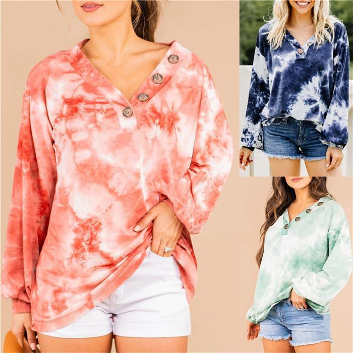 Hoodies Loose V Neck Long Sleeve Tops Spring Autumn Fall Casual Women Designer Sweatshirts Tie Dye Button