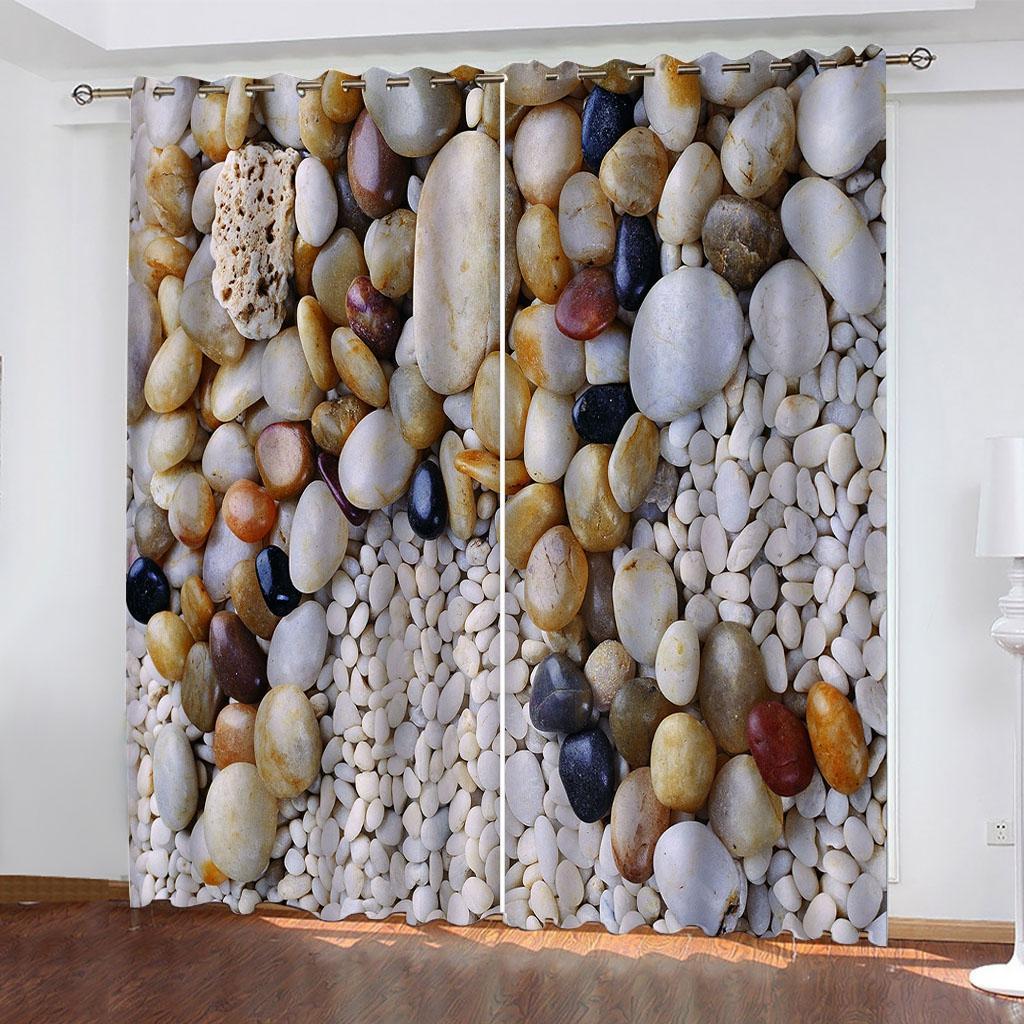 Cortinas 3D Personalizado de colorido brillante guijarros Impresión de fotos cortinas apagones para sala de estar Dormitorio 3D Cortina Deco