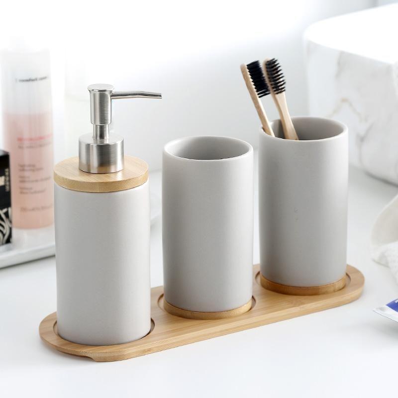 Keramik Bambus Badezimmer Emulsion Container Badezimmer-Glas Küche Geschirr Bürsten Cup Dishwashing Liquid MJ709