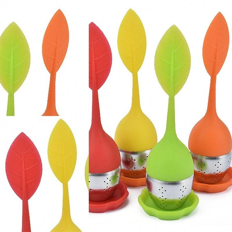 Sac en acier inoxydable thé en silicone Feuille Décore circulaire thé Filtre Épaississement haute température Résistance Boule à thé pratique 2 28jg F2