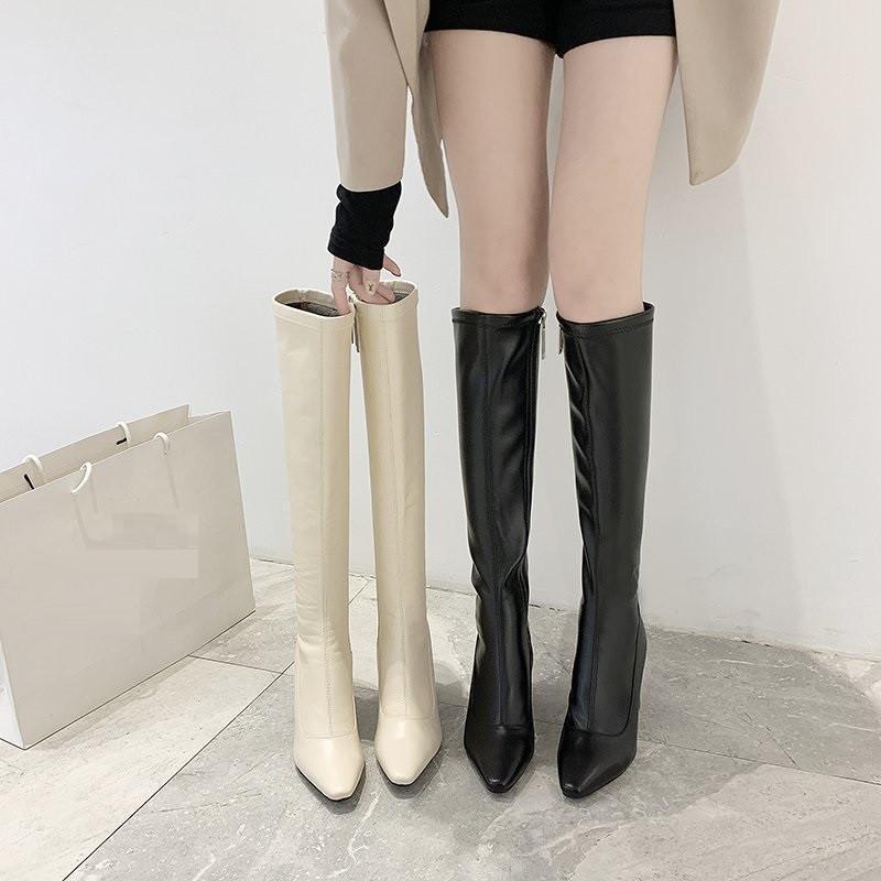 2020 Fashion kniehohe Stiefel Frauen Winterstiefel starker Absatz Langer Runde Beleg auf britischen Stil Schuhe Frau Ritter Stiefel