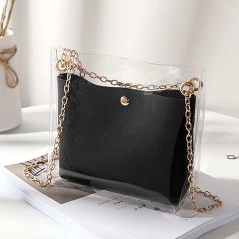 Mulheres Projetar Pequeno Sólido Sólido Bag Messenger Bag Crossbody Pu Telefone Moeda Transparente Novo Bucket Feminino