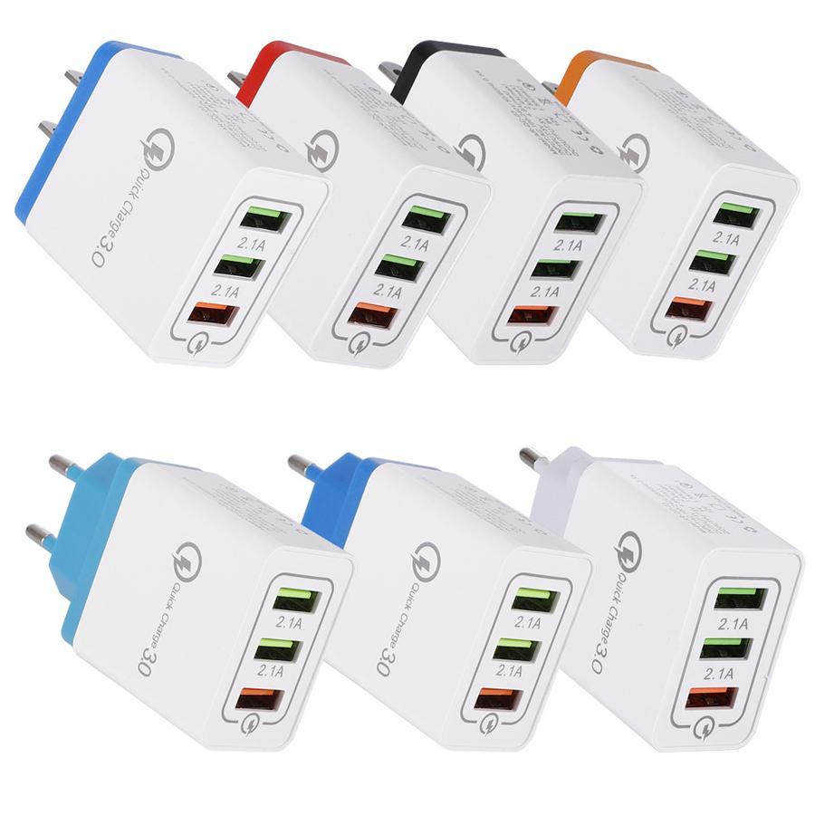 3 Porte Quick Charger QC3.0 USB di ricarica rapida 5V 2.4A del telefono del caricatore della parete portatile adattatore per mobile